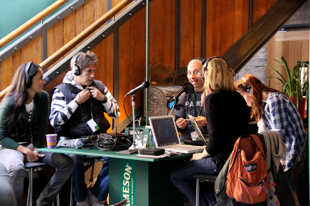 Four Radio DJs broadcast from the Old Jameson Distillery in Dublin